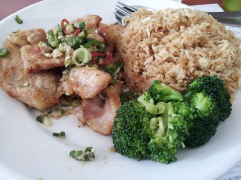 Salt and pepper pork chops with egg fried rice. So meaty.So eggy. So... ricey?