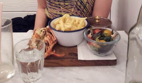 Lobster and chips - as good a shot as I'll get (sorry I didn't stand on my chair to get the aerial view)