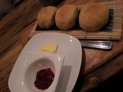 Pandesal served with jam and butter