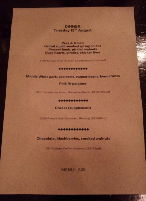 Our set menu for the evening. Laconic, to say the least