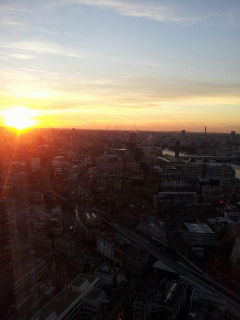 Blazing orange over London