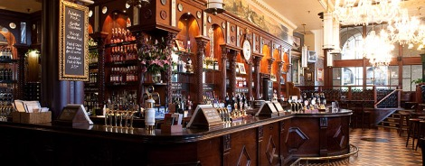 Dark woods, chandeliers and ales. Sourced from Horniman at Hays website